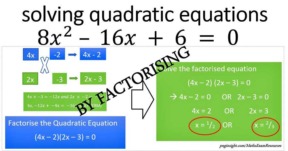 Solve Quadractic Equation - FACTORISING